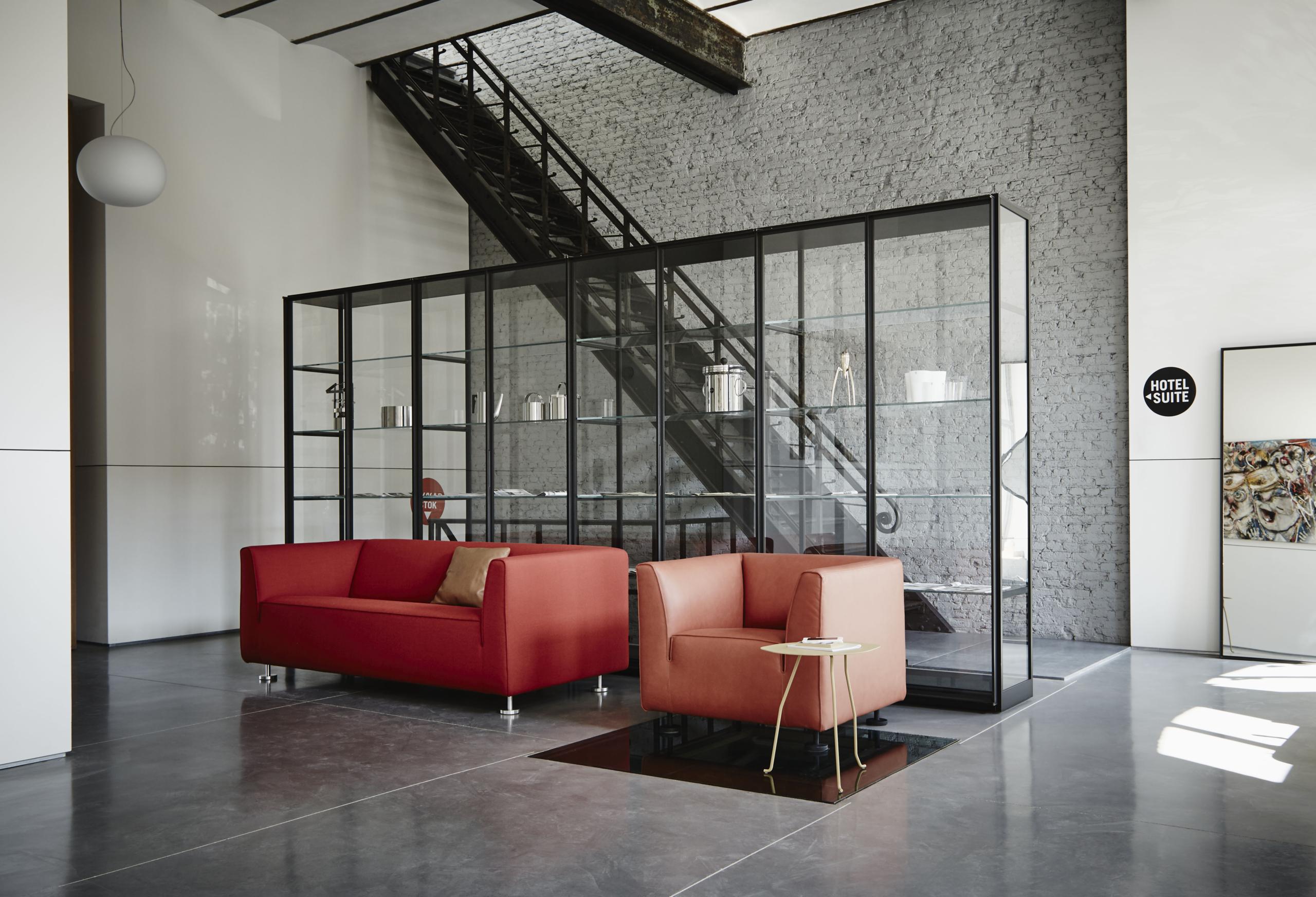 Gelderland bank en fauteuil rood leder